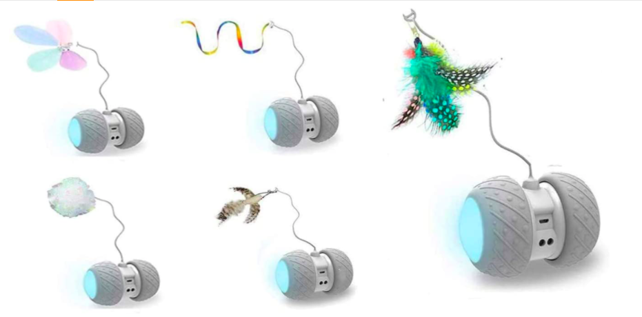 Robotic motion toys with bright feathers attached on strings