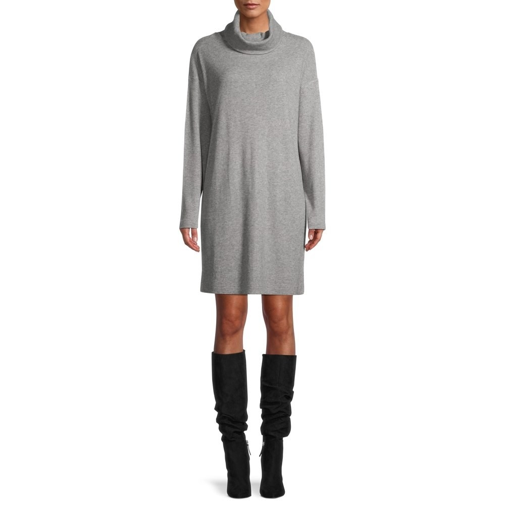 model wears gray turtleneck sweater dress