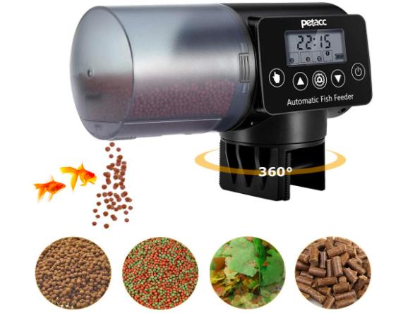 360º fish pellet dispenser feeding goldfish