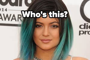 Kylie Jenner with dyed hair and caption,