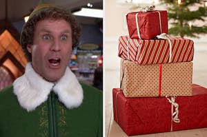 An image of Buddy the Elf next to an image of a stack of presents