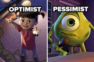 optimist and pessimist labels over boo and mike wazowski