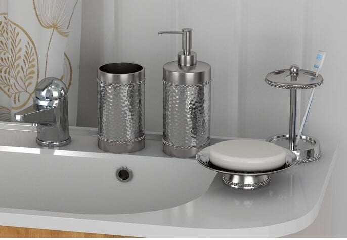 The metal bathroom accessory set