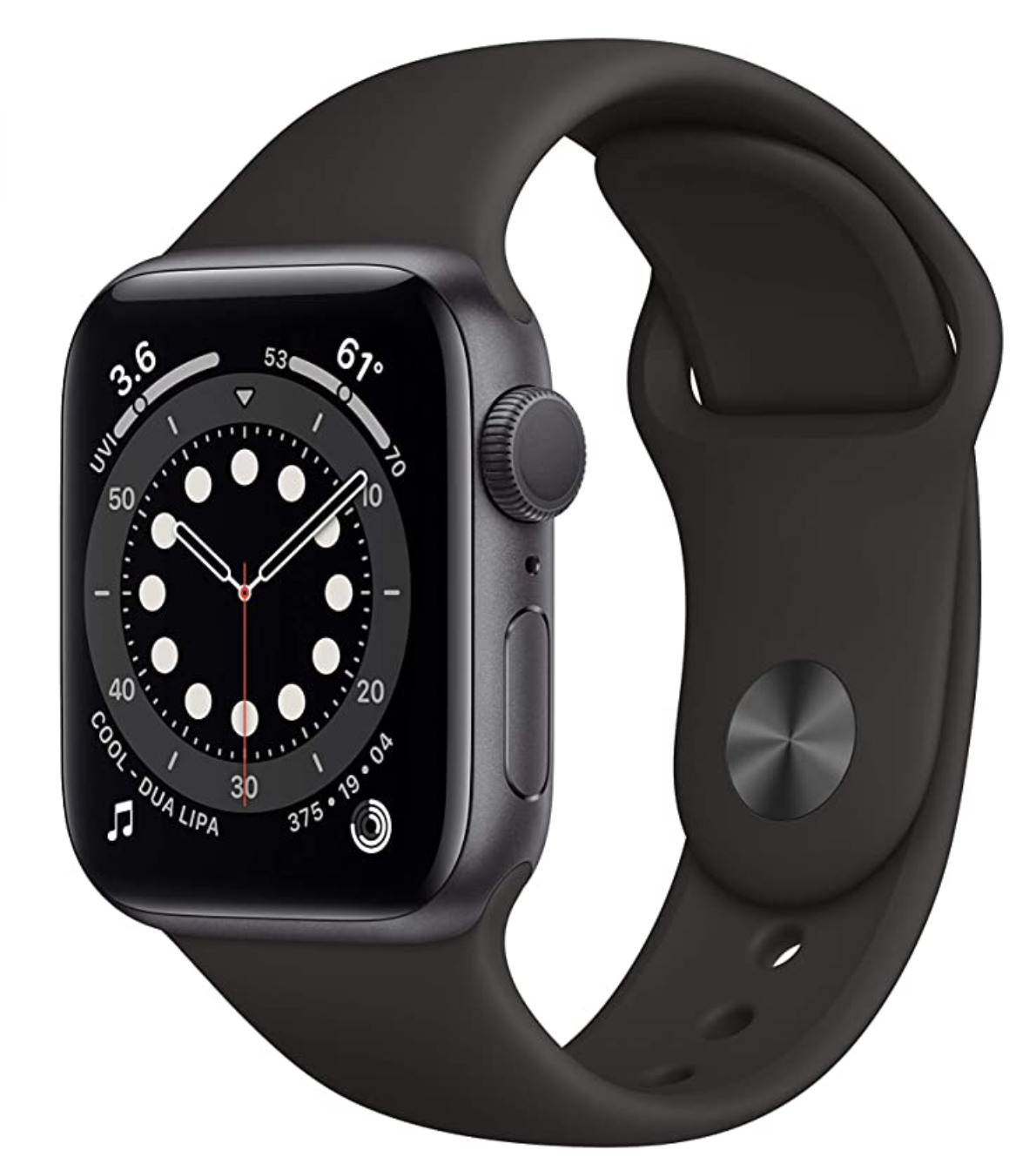 Apple Watch with a black band and a clock on the face