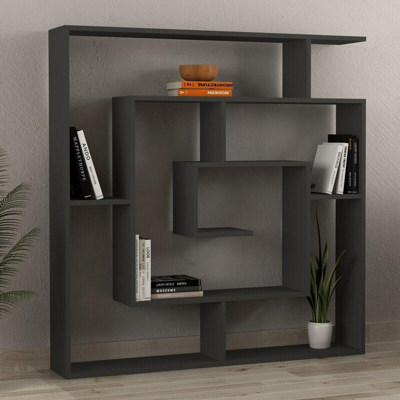 The gray geometric bookcase