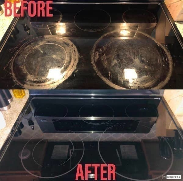 On the top, a reviewer stovetop looking dirty, and on the bottom, the same reviewer's stovetop now looking completely clean after using the kit