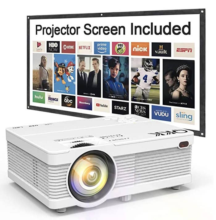 Projector with a screen behind it