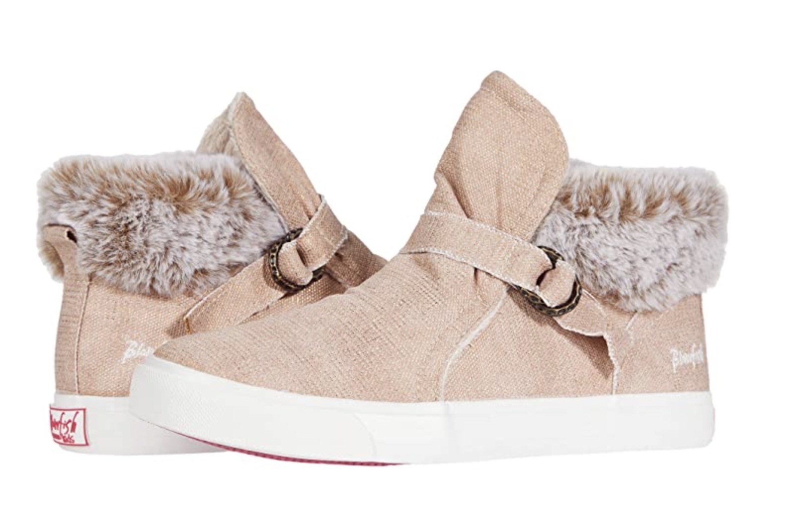 tan sneakers with faux fur on the inside