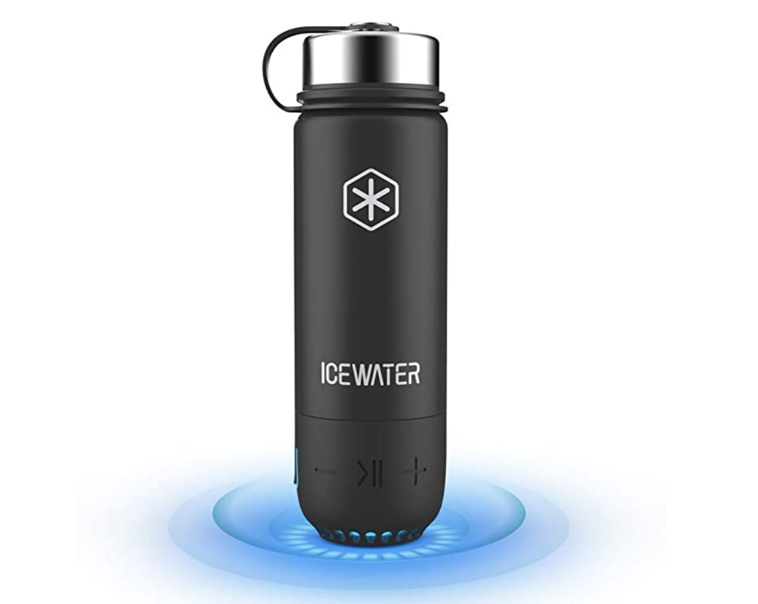 A black water bottle that's glowing from the bottom