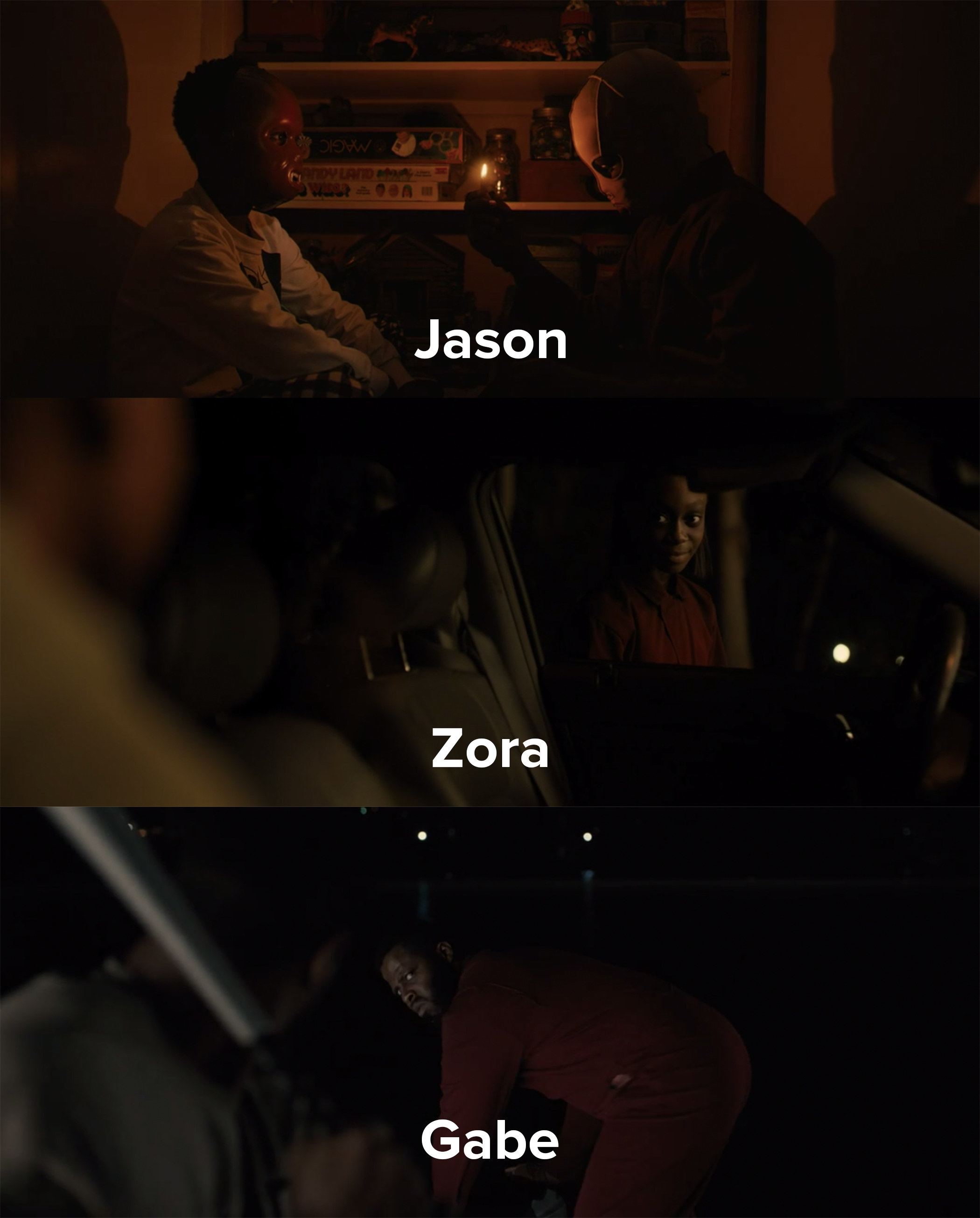Jason, Zora, and Gabe are tormented by their evil doppelgangers