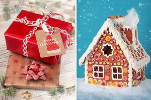 An image of a two presents next to a gingerbread house
