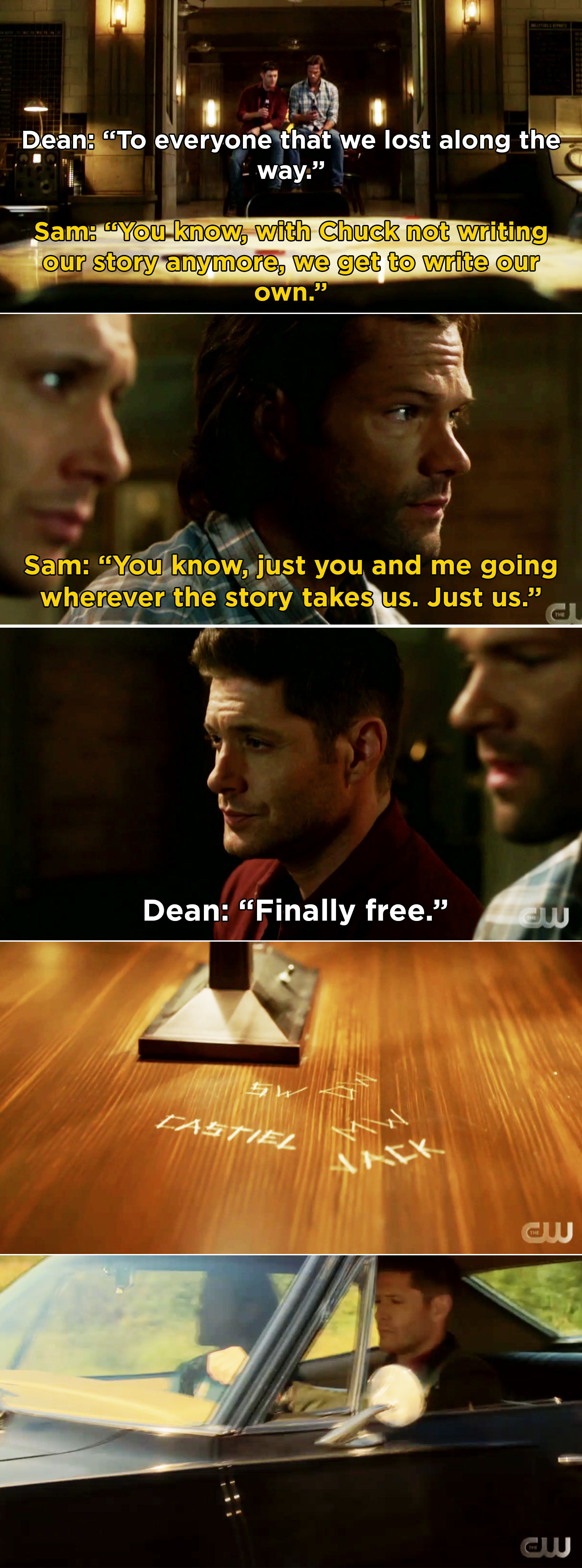 """Sam saying it can finally just be the two of them and Dean saying that they are """"finally free"""""""