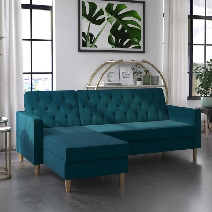 sectional couch with wooden legs