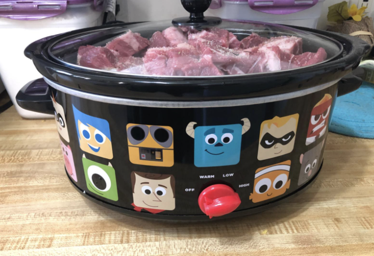 Reviewer photo of  Disney Pixar slow cooker with meat inside