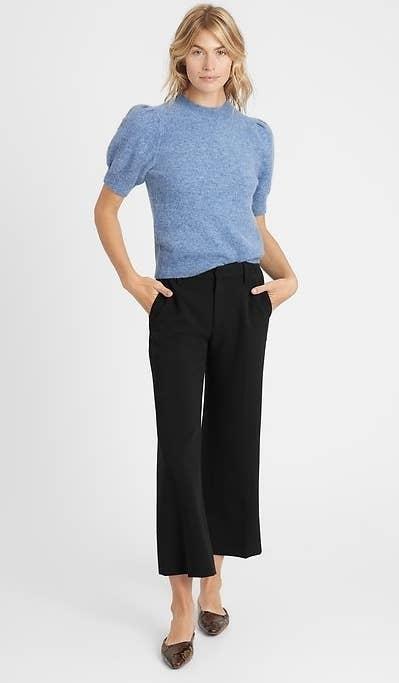 model wearing wide-legged pants