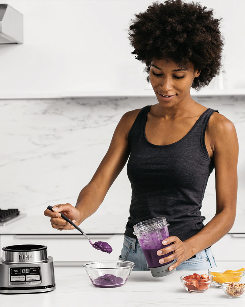 personal blender in use