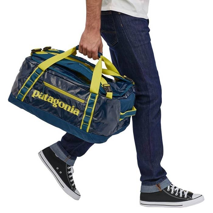 Crater Blue duffel bag with yellow details