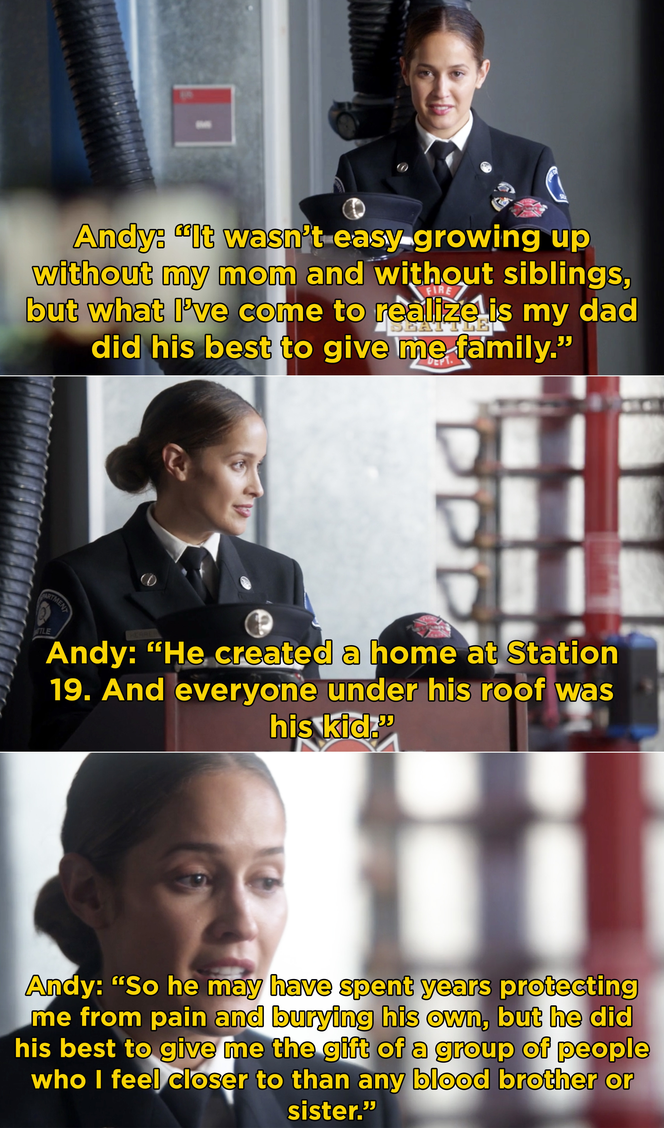 Andy saying that her dad created a home for her at Station 19 because everyone is close to her than any blood brother or sister would be