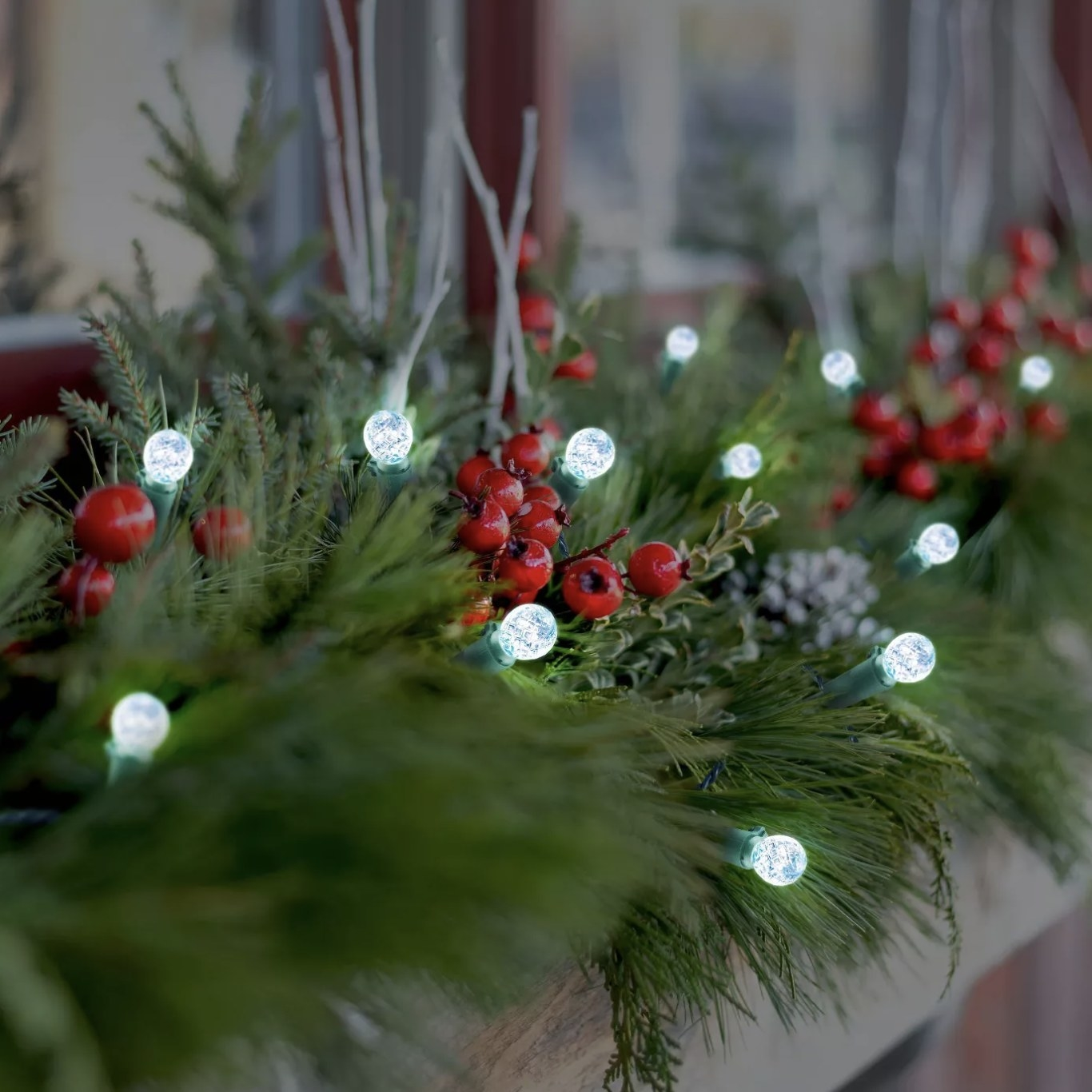 The lights on a garland