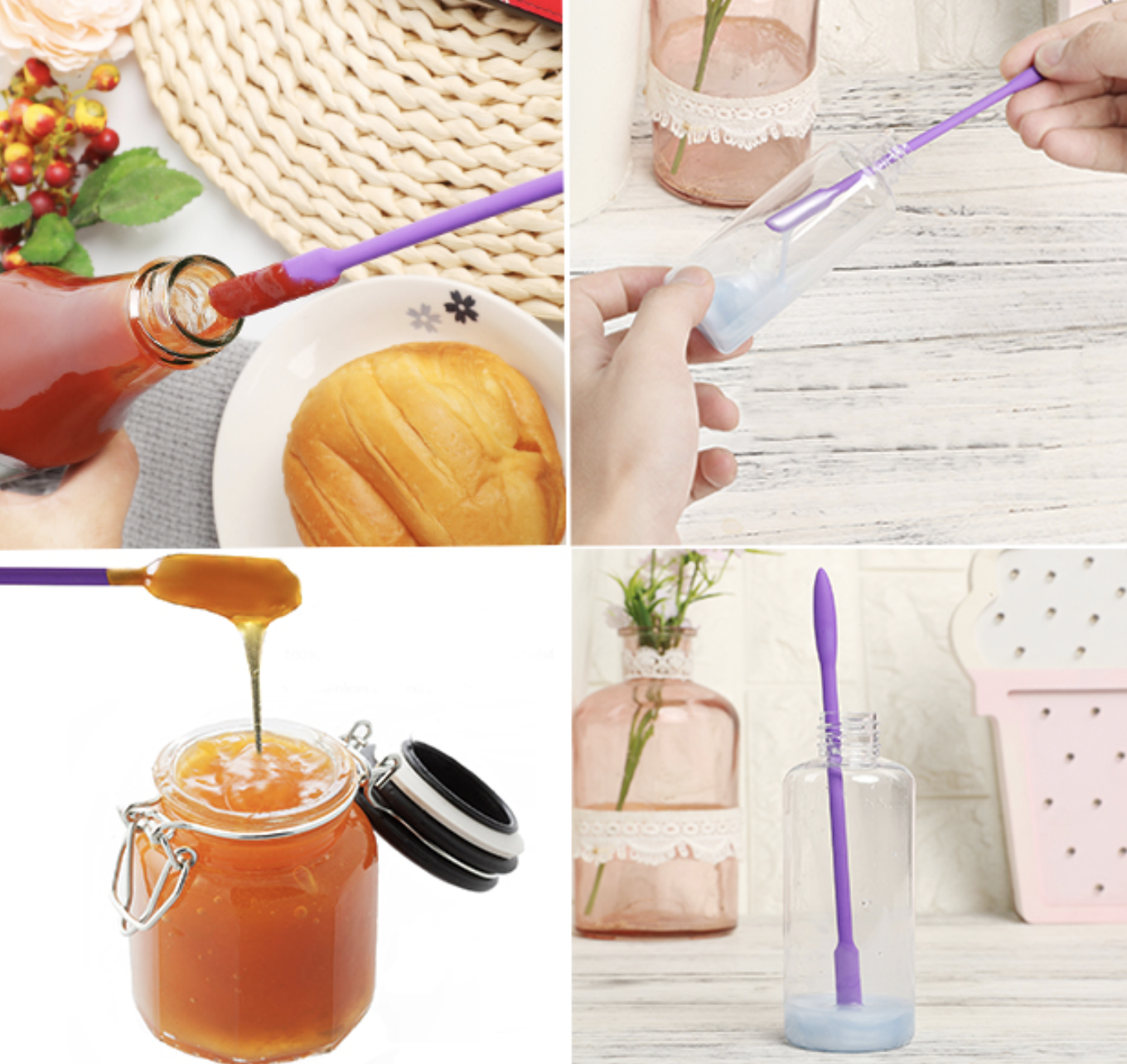 Four different product images showing the spatulas used to remove contents from beauty containers, food jars, and ketchup bottle