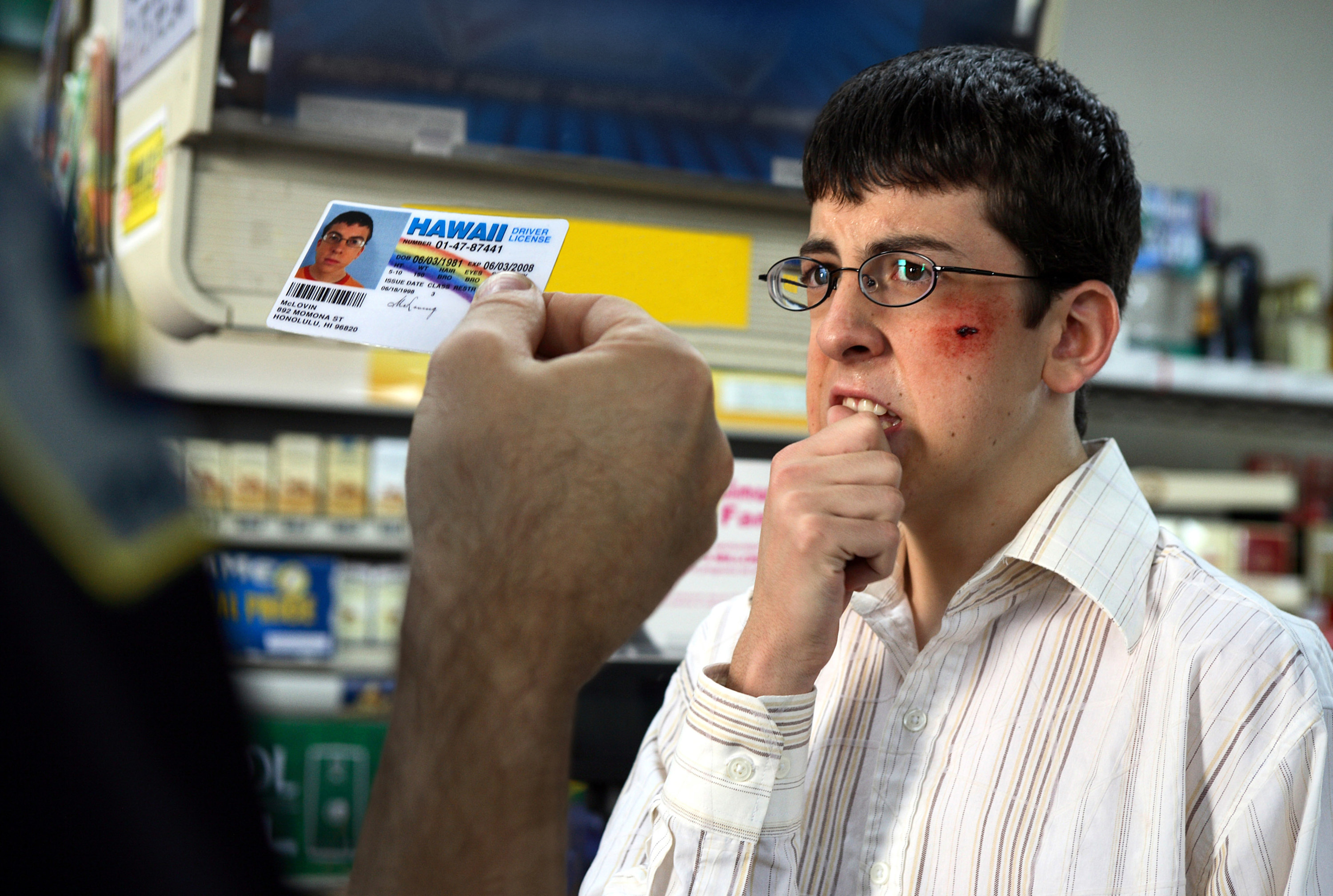 McLovin' getting ID-ed at the drugstores by the cops