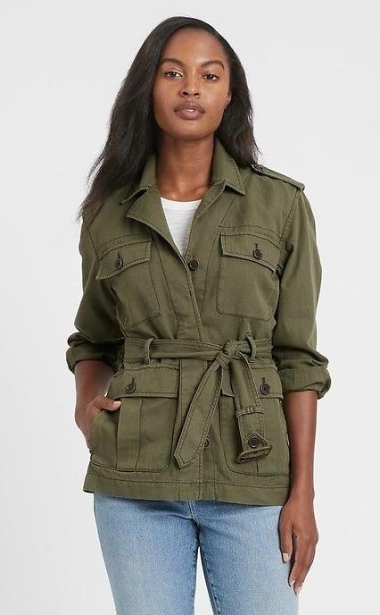 model wearing army green jacket