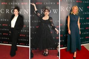 Olivia Colman, Helena Bonham Carter, Gillian Anderson in the crown