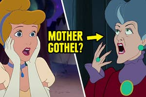 Cinderella and her step mom shocked that we can't remember her name