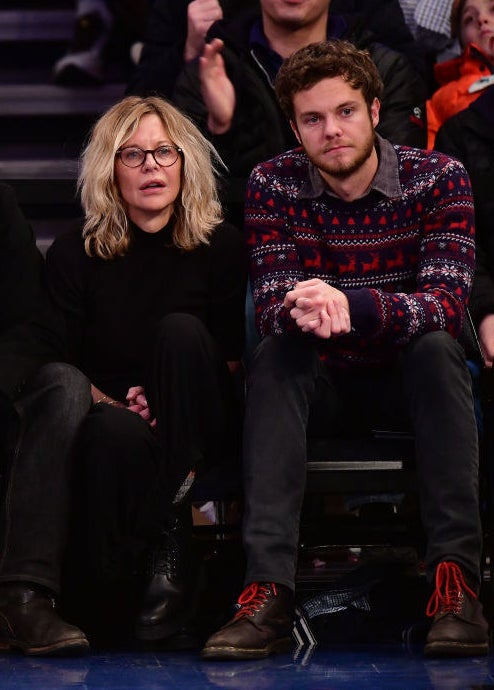Jack and Meg sitting court side at an NBA game