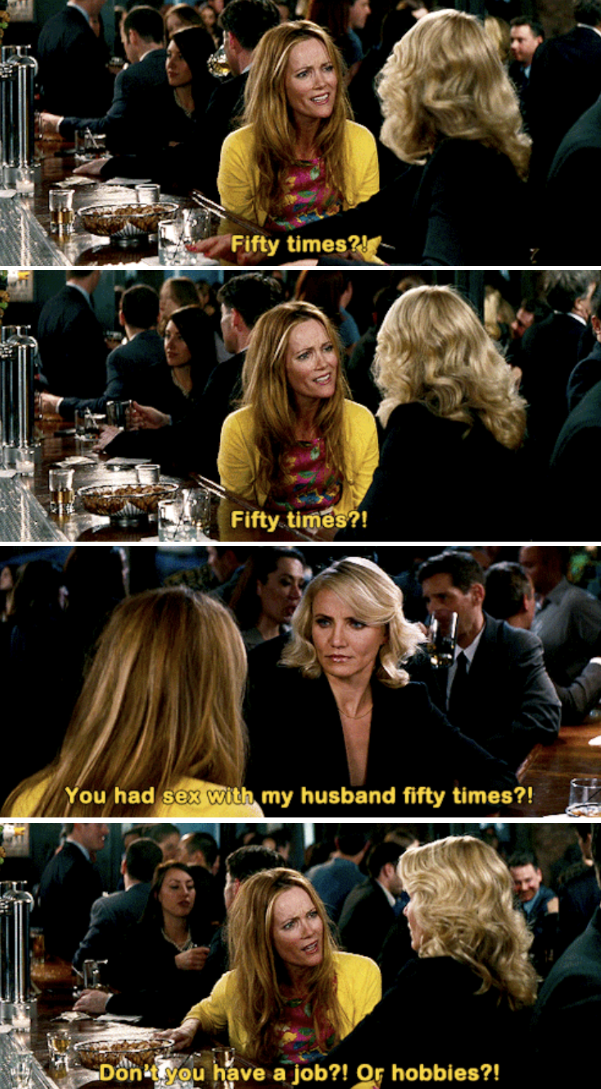 Kate at the bar with Carly, in disbelief that Carly had sex with her husband 50 times