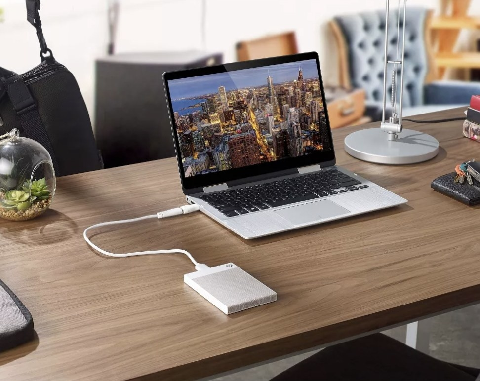 The hard drive connected to a laptop