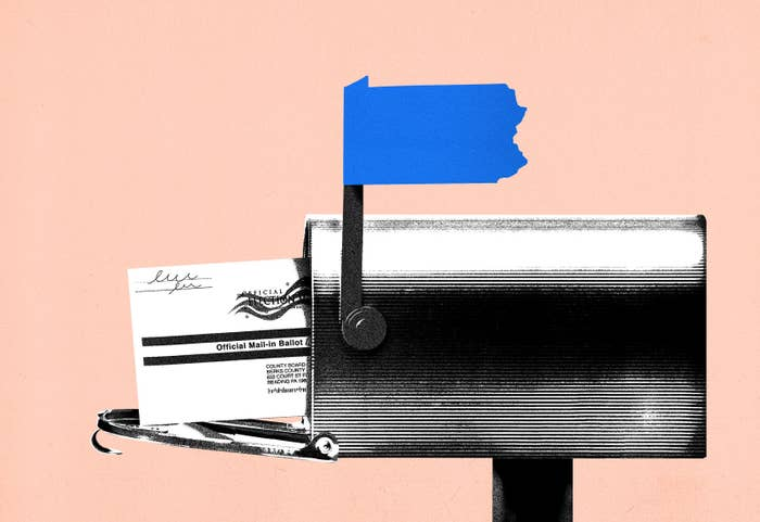 An illustration of a mailbox with a ballot in it and a mailbox flag in the shape of Pennsylvania