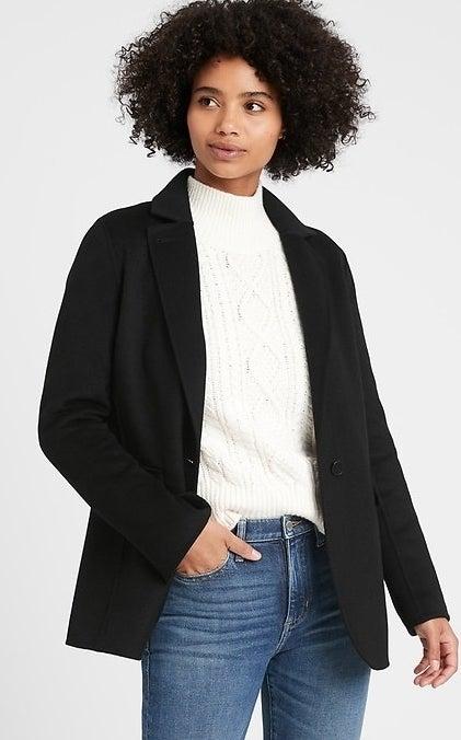 model wearing black blazer jacket