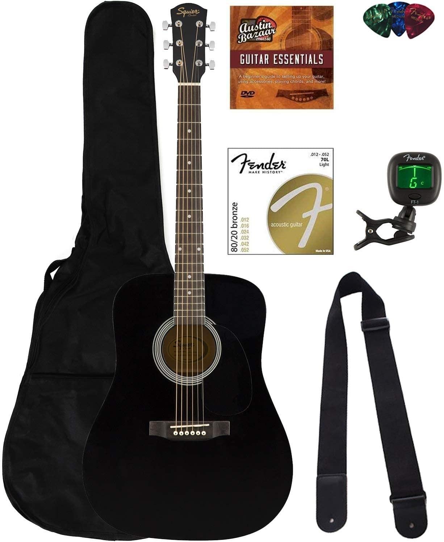 the complete denfer squier dreadnought acoustic guitar bundle