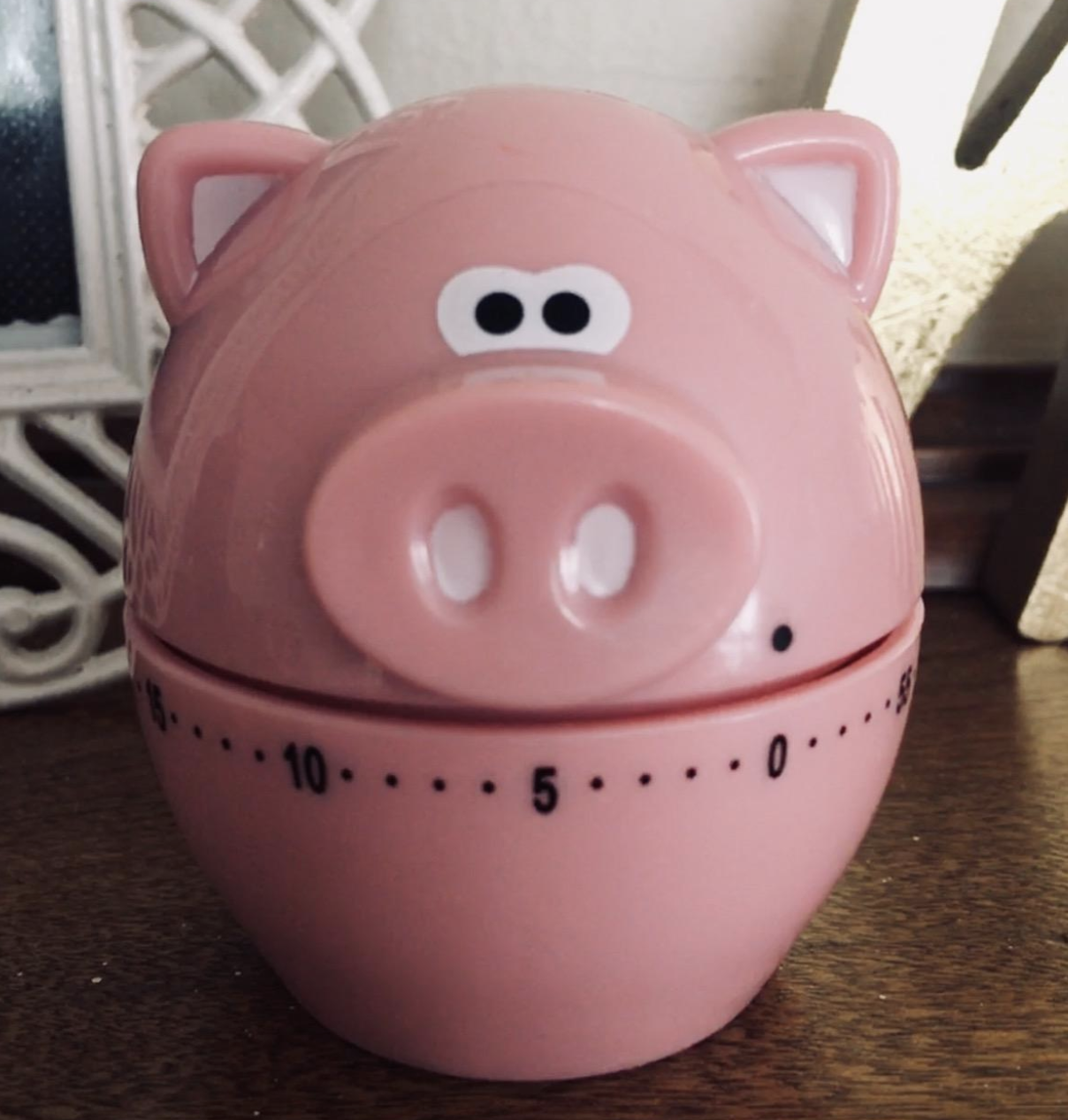 Reviewer photo of the piggy wiggy timer on table