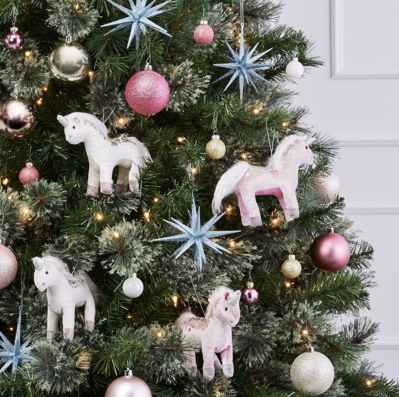 The ornaments on a Christmas tree