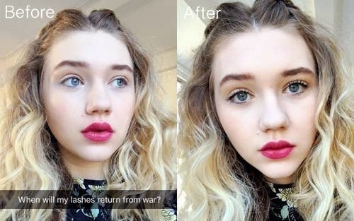 BuzzFeed Shopping reviewer with before and after of light lashes and then full, dark lashes