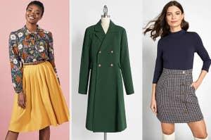 left, skirt, middle, coat, right, dress