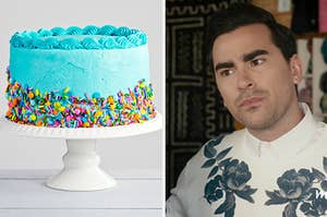 """On the left, a bright, birthday-style cake with sprinkles across the bottom half, and on the right, Dan Levy as David Rose on """"Schitt's Creek"""""""