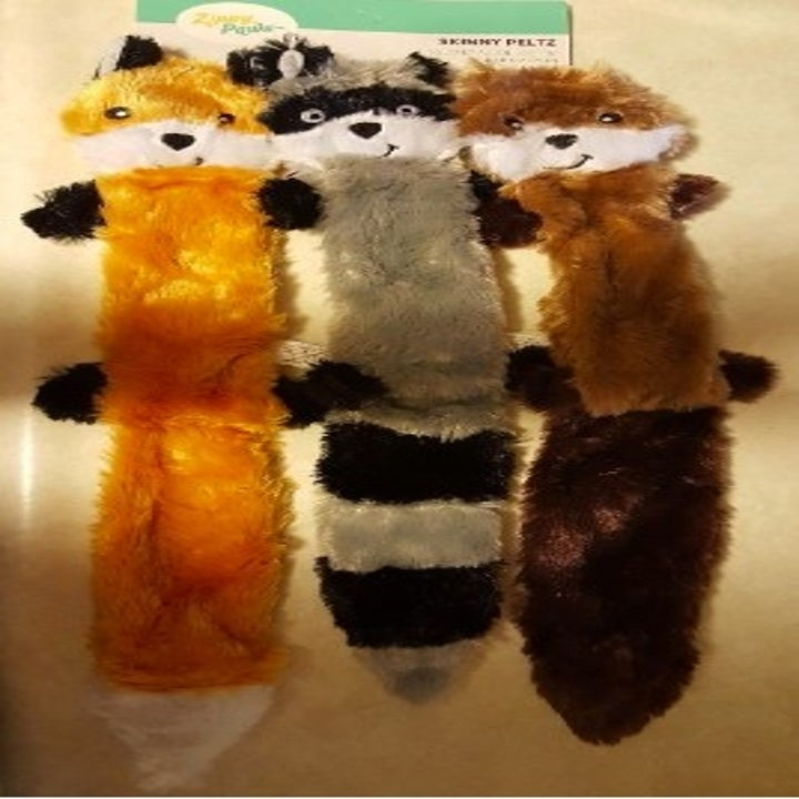 three animal squeaky flat plush toys