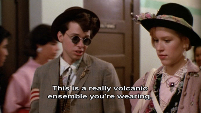 """Duckie and Andie walking down the hall together, telling her: """"This is a really volcanic ensemble you're wearing"""""""