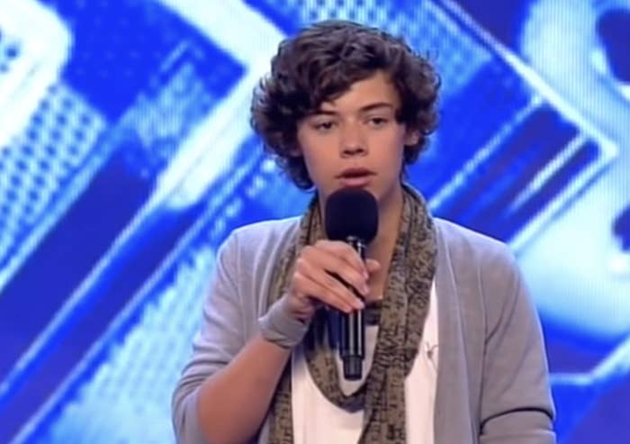 A young Harry performing the X Factor UK