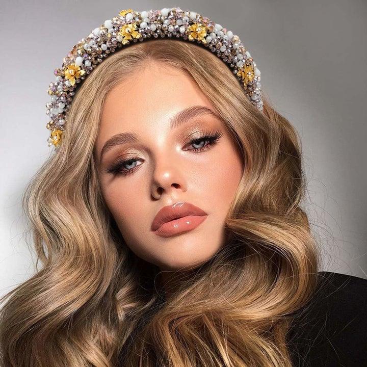 A model wearing the pearl white headband.
