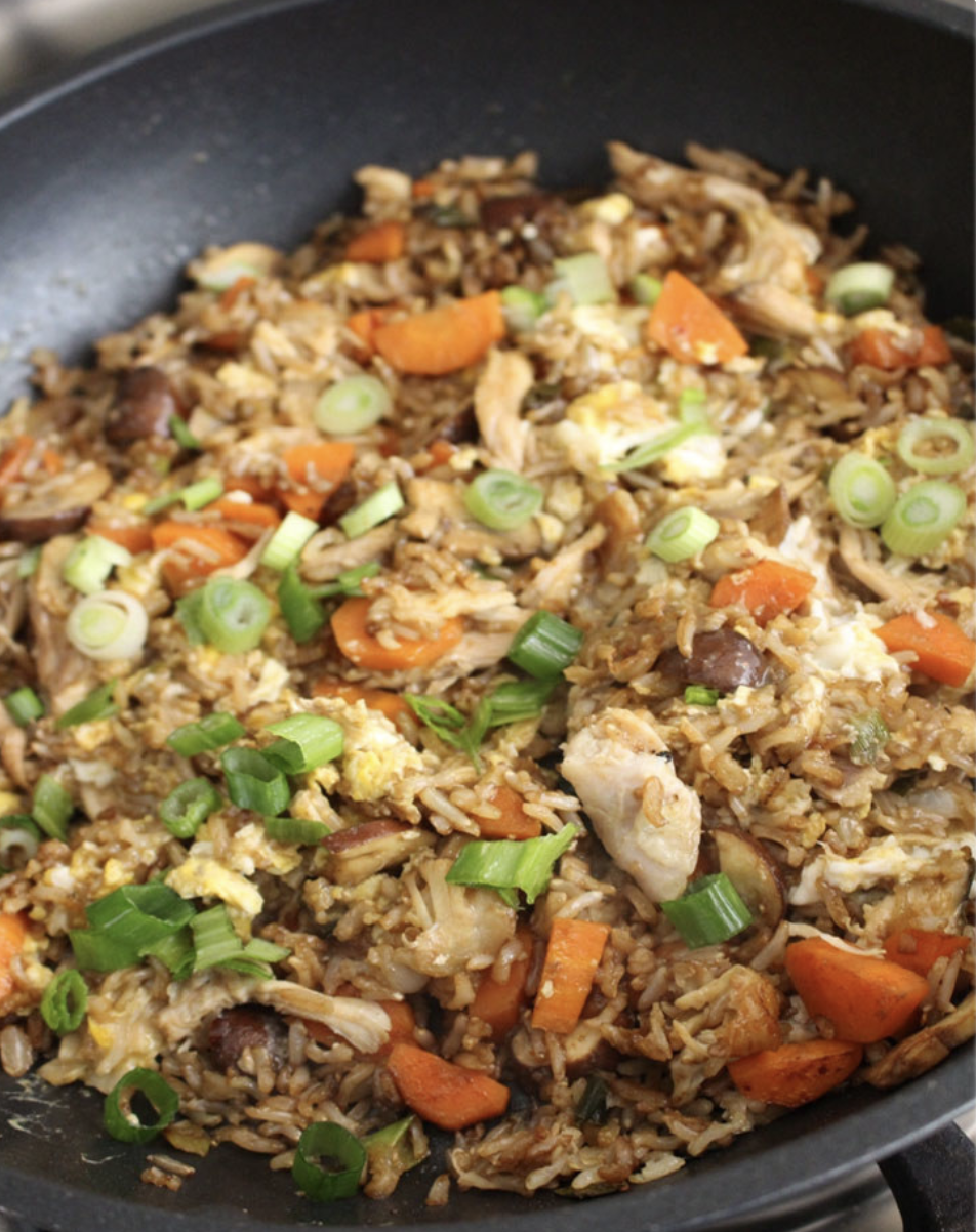 A pan of fried rice