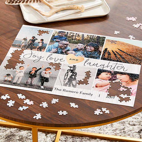 a photo collage puzzle on a table