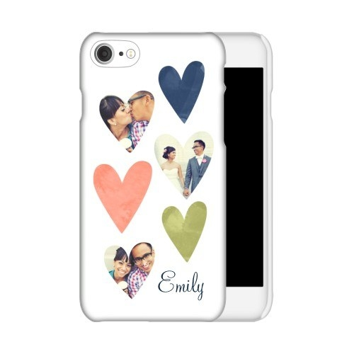 a white phone case with three colored hearts and three photos in hearts
