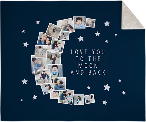 a blue blanket with a collage of photos shaped like a crescent moon and the words love you to the moon and back
