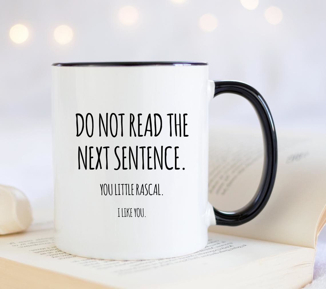 Mug reads Do Not Read The Next Sentence. You Little Rascal. I Like You.