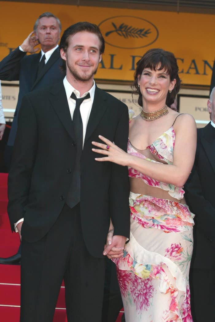 Ryan Gosling and Sandra Bullock on the red carpet at the 2002 Cannes Film Festival