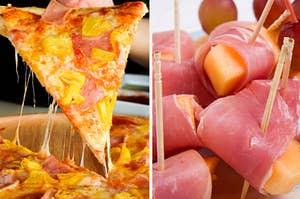 夏威夷披萨和熏火腿包裹的甜瓜的并排图片